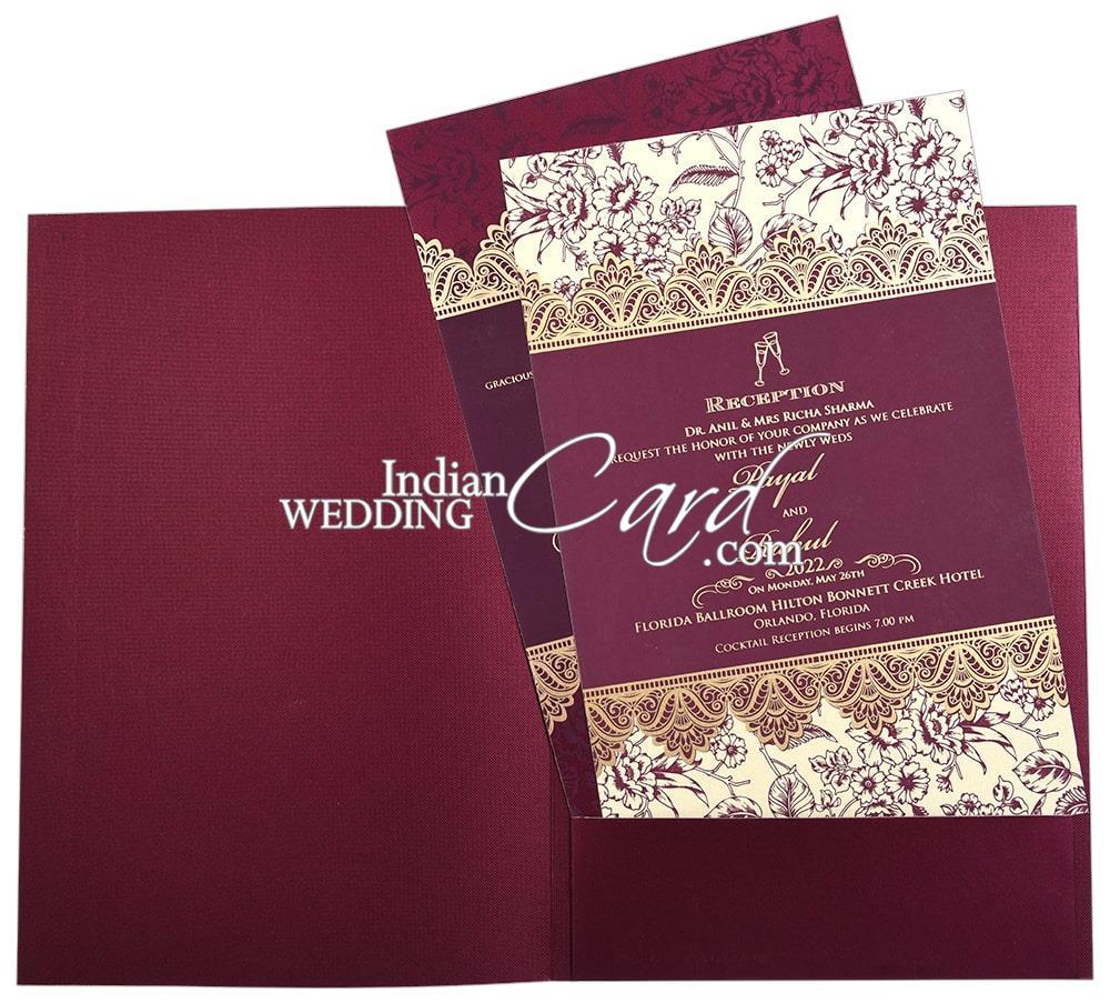 deep purple color floral border based sikh wedding card