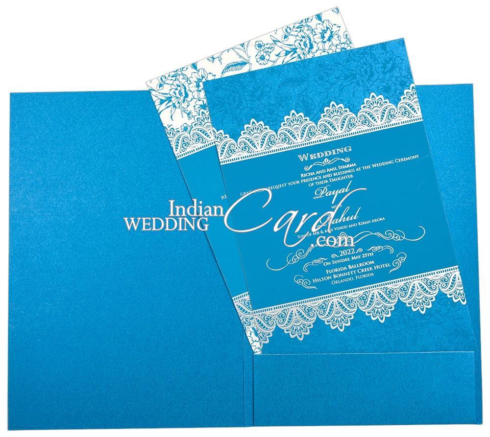 turquoise blue color floral border based sikh wedding card