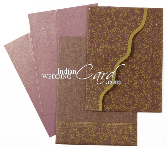 Best Paper Weight For Wedding Invitations: D-2309, Purple Color, Shimmery Finish Paper, Light Weight