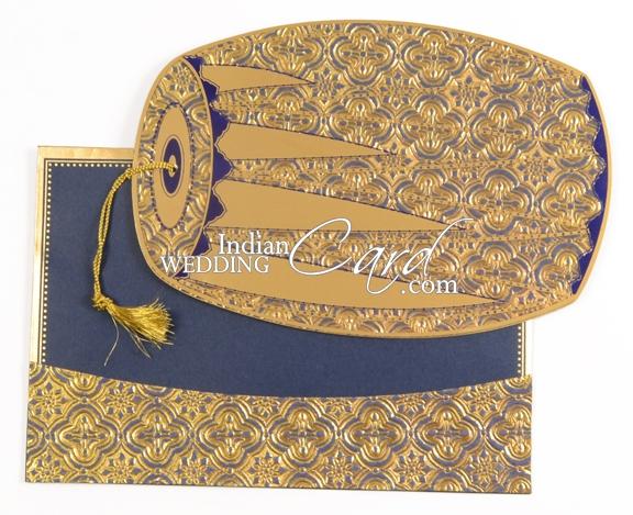 D3428 Blue Color Odd Shape Cards Designer Multifaith Invitations