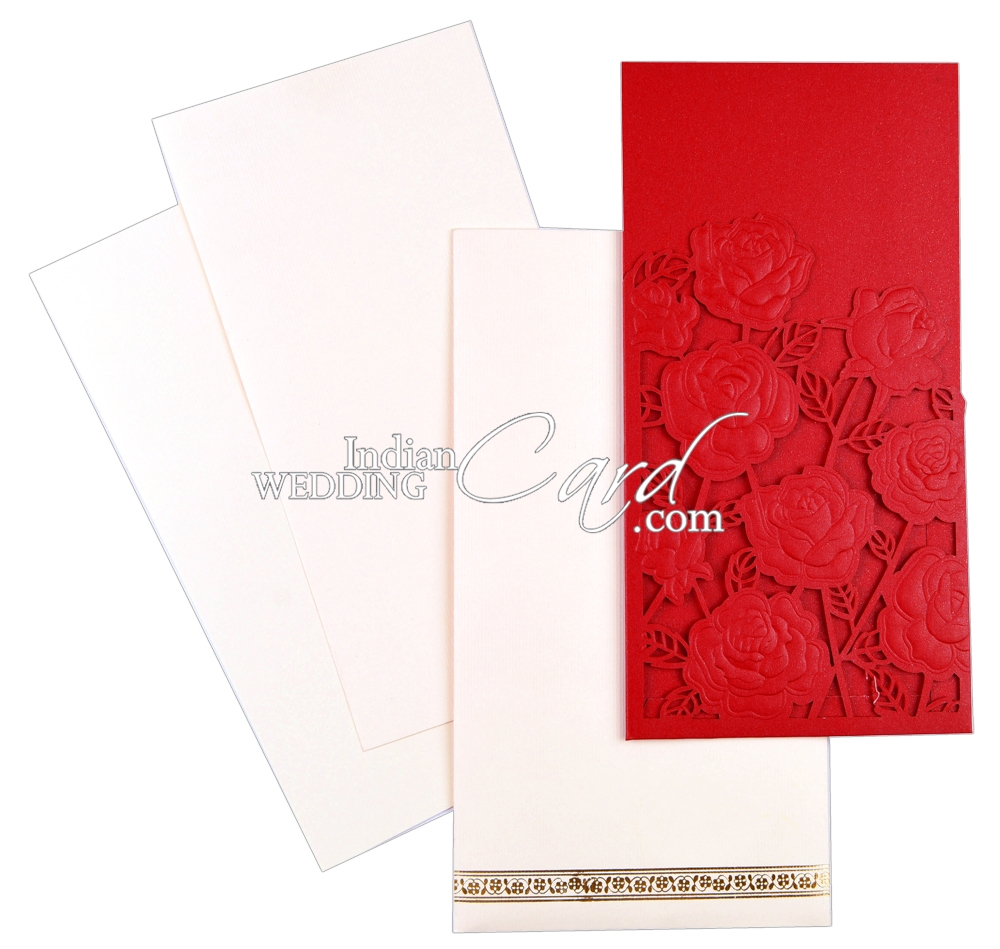D-7089, Red Color, Single Sheet Cards, Small Size Cards, Laser Cut ...