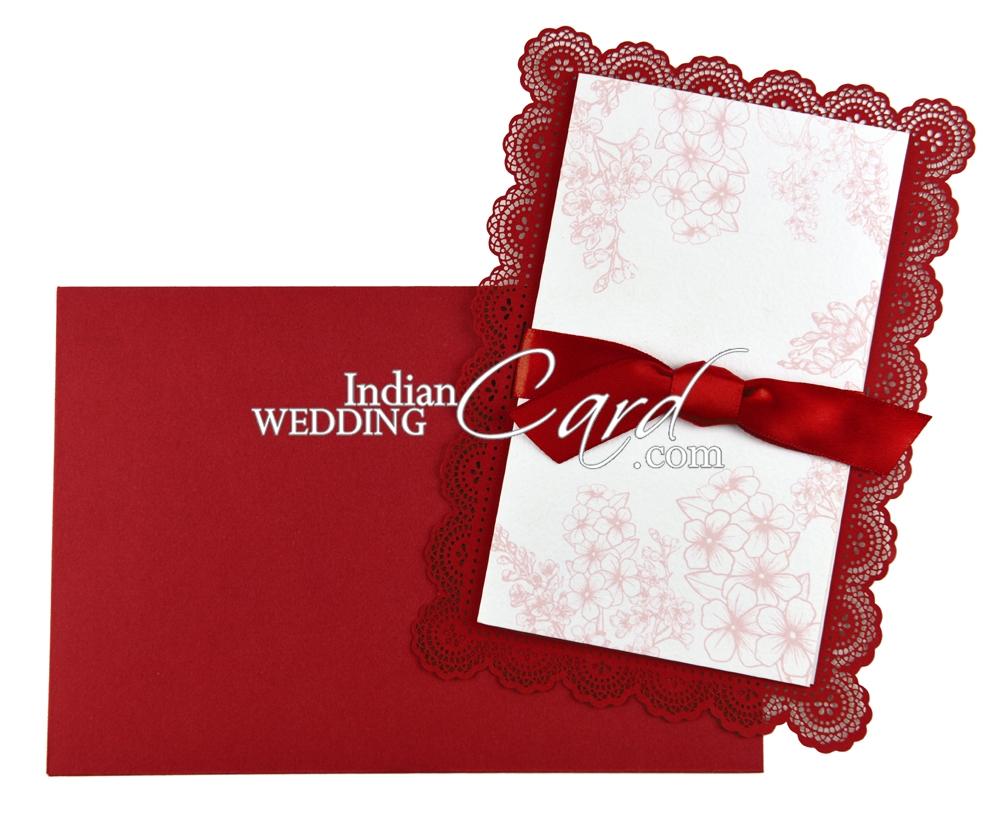 D-7107, Red Color, Laser Cut Cards, Ribbon Layered Cards, Designer ...
