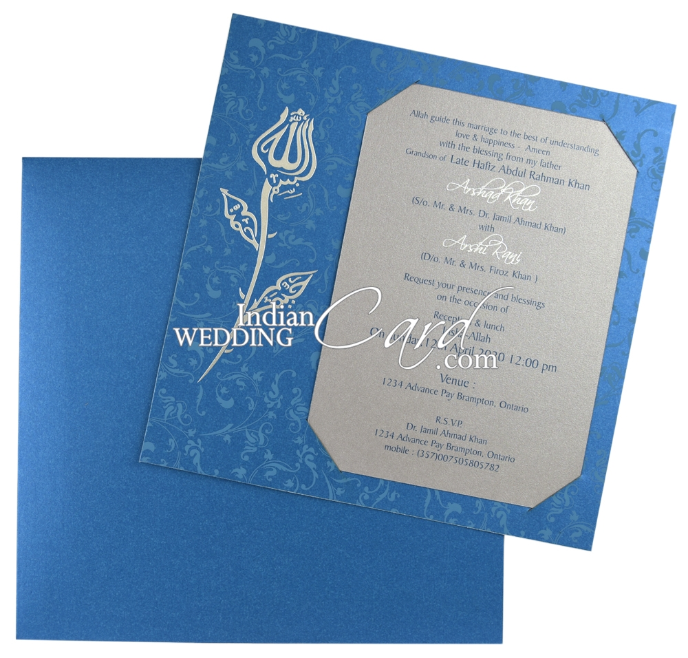 D-7577, Blue Color, Shimmery Finish Paper, Single Sheet Cards ...