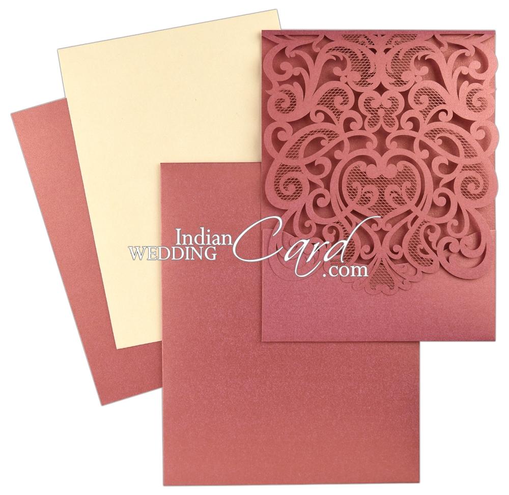 D-7908, Pink Color, Shimmery Finish Paper, Laser Cut Cards, Designer ...