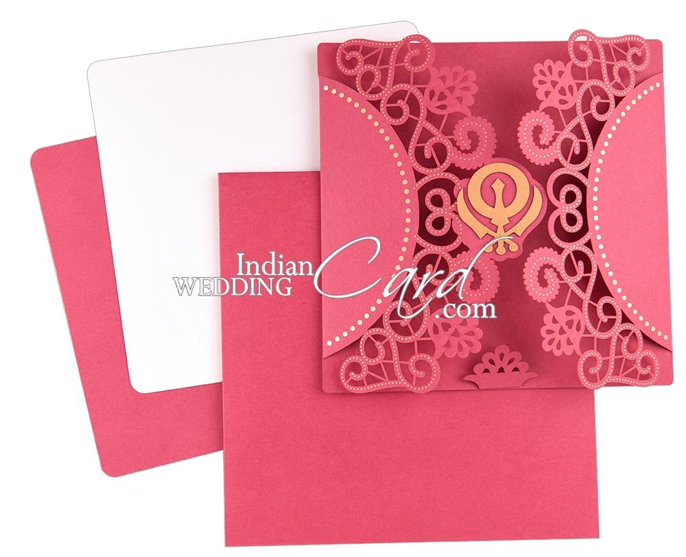 D-8008, Pink Color, Laser Cut Cards, Sikh Cards