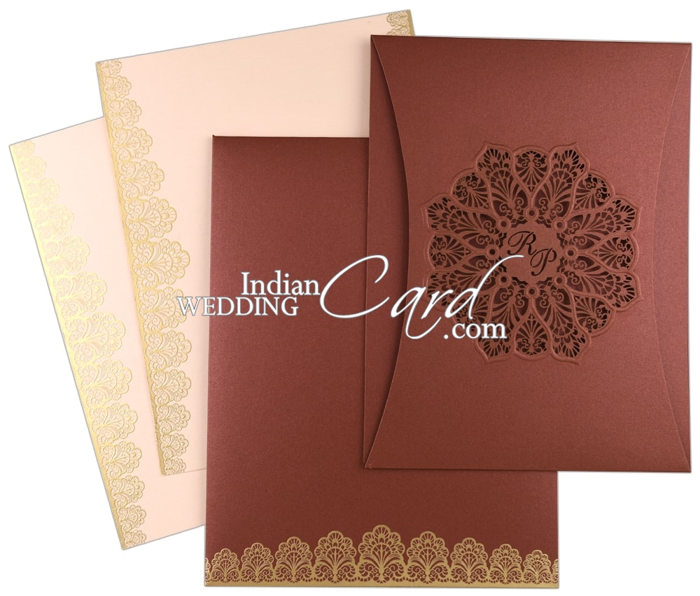 D-8401, Red Color, Shimmery Finish Paper, Laser Cut Cards, Designer ...