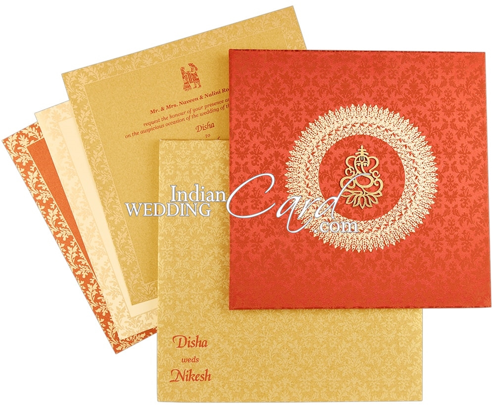 D-8508, Red Color, Hindu Cards, Exclusive Invitations.