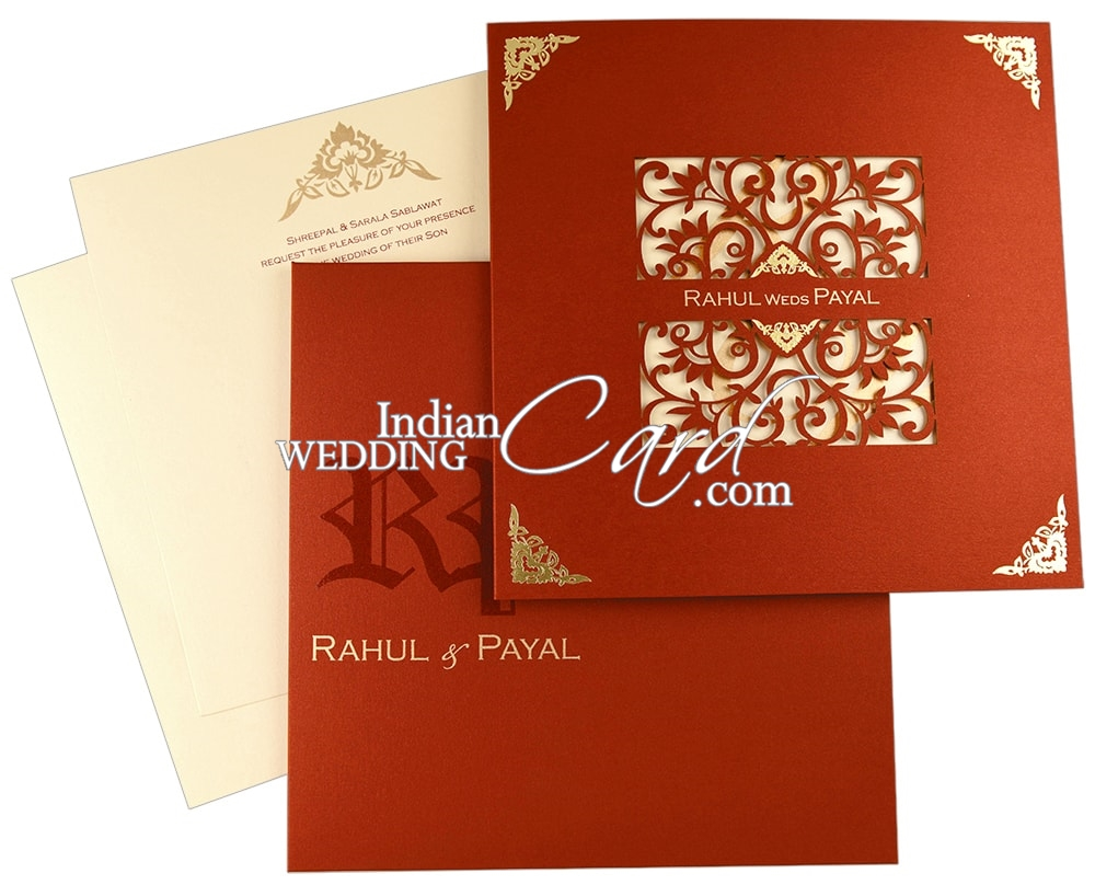 D-8552, Red Color, Shimmery Finish Paper, Laser Cut Cards, Designer ...