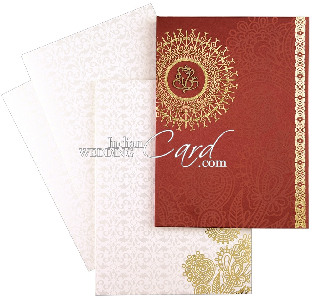 D-8609, Red Color, Shimmery Finish Paper, Hindu Cards.