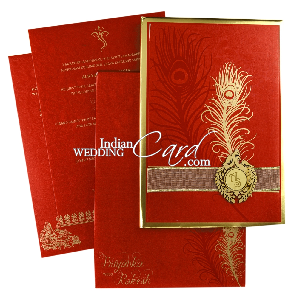 IWMR230, Red Color, Shimmery Finish Paper, Ribbon Layered Cards.