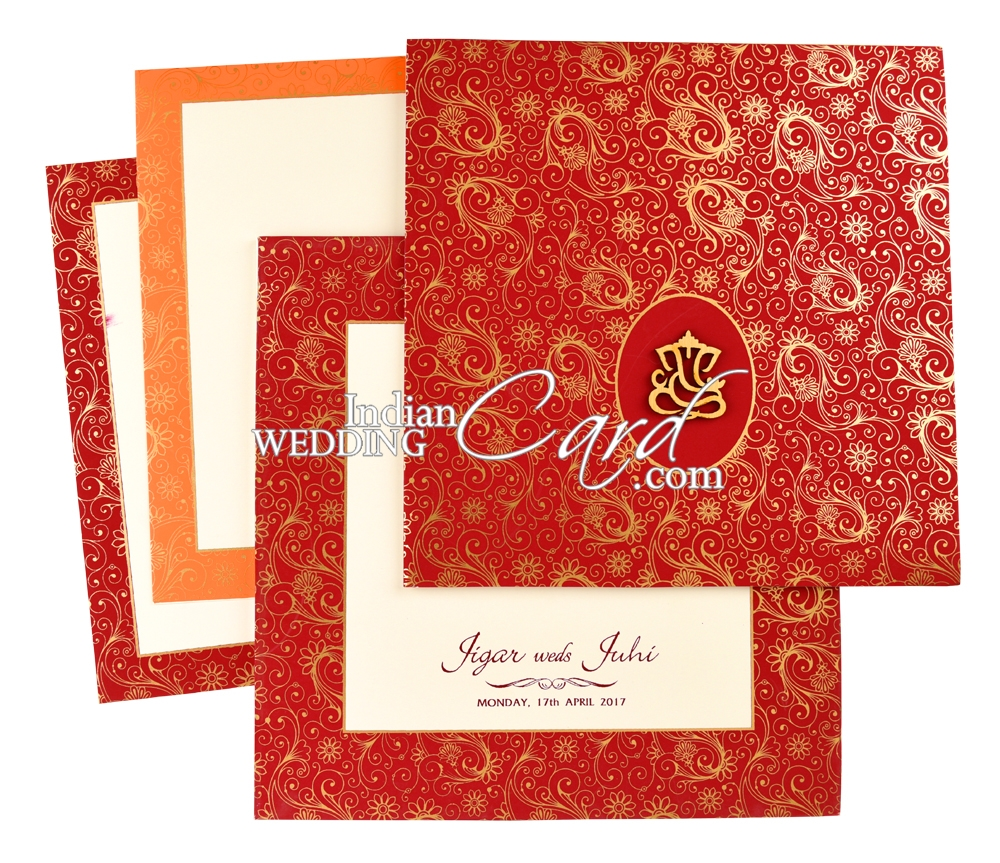 IWPR310, Red Color, Shimmery Finish Paper, Hindu Cards, Exclusive ...