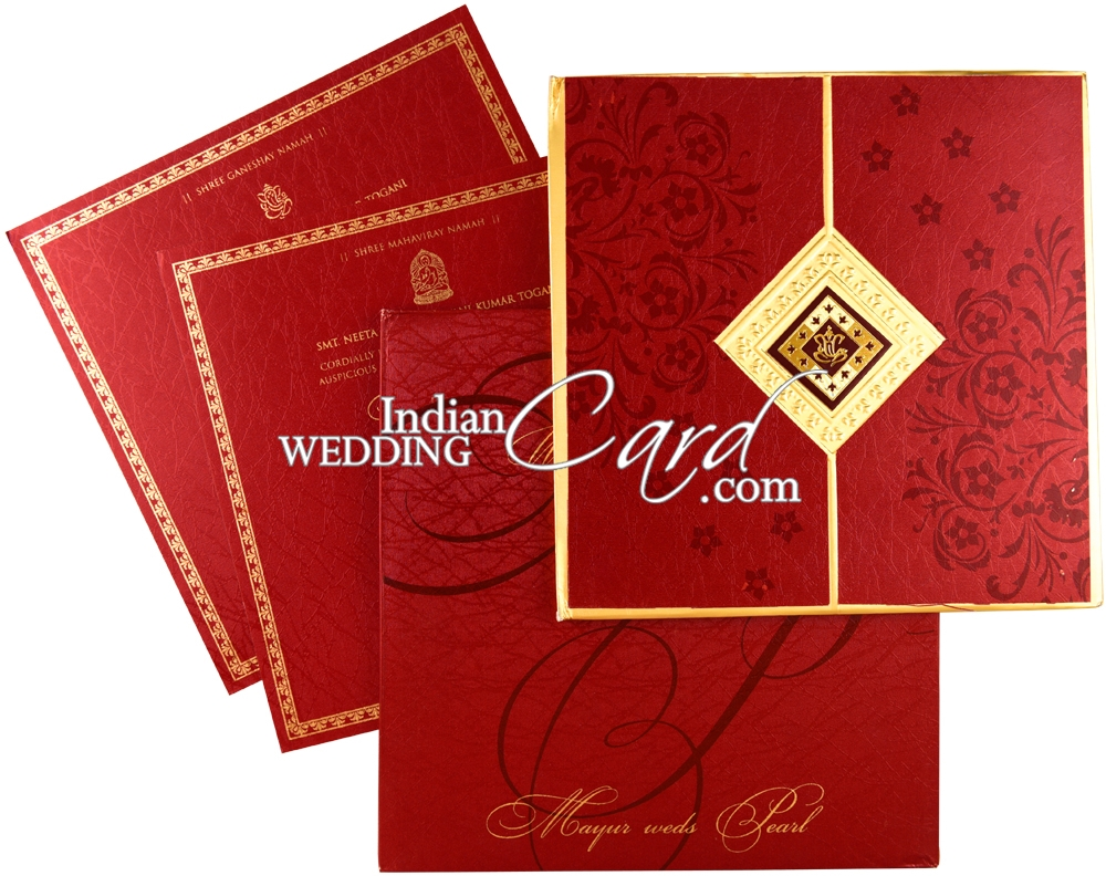 IWRX33, Red Color, Shimmery Finish Paper, Hindu Cards.
