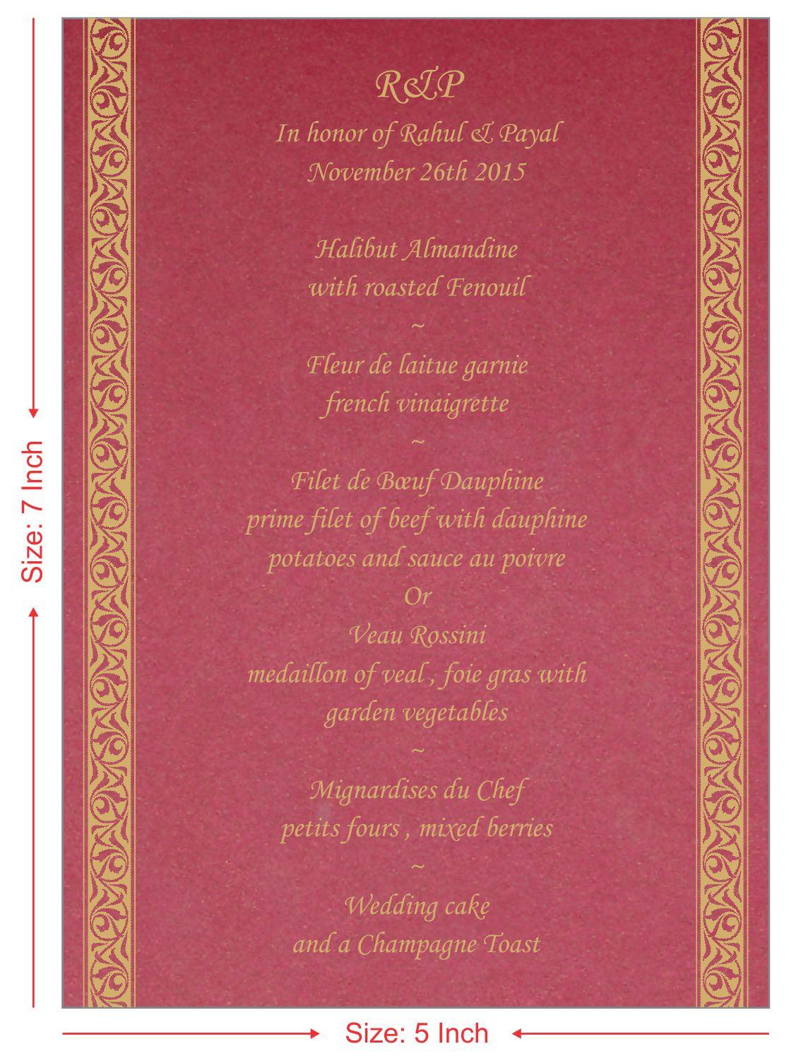 red color unique menu cards indian wedding cardmenu1