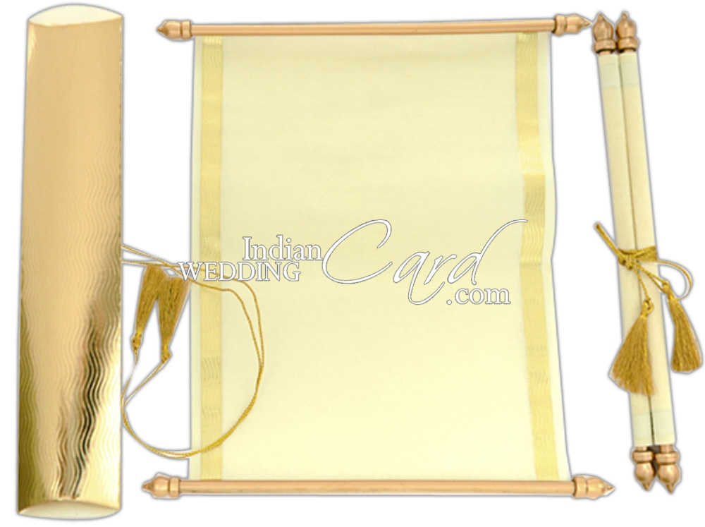 S1085, blank Color, Shimmery Finish Paper, Scroll Invitations ...
