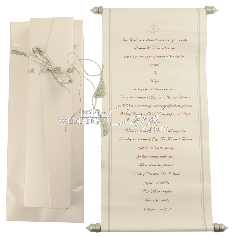 S1096, White Color, Shimmery Finish Paper, Scroll Invitations ...