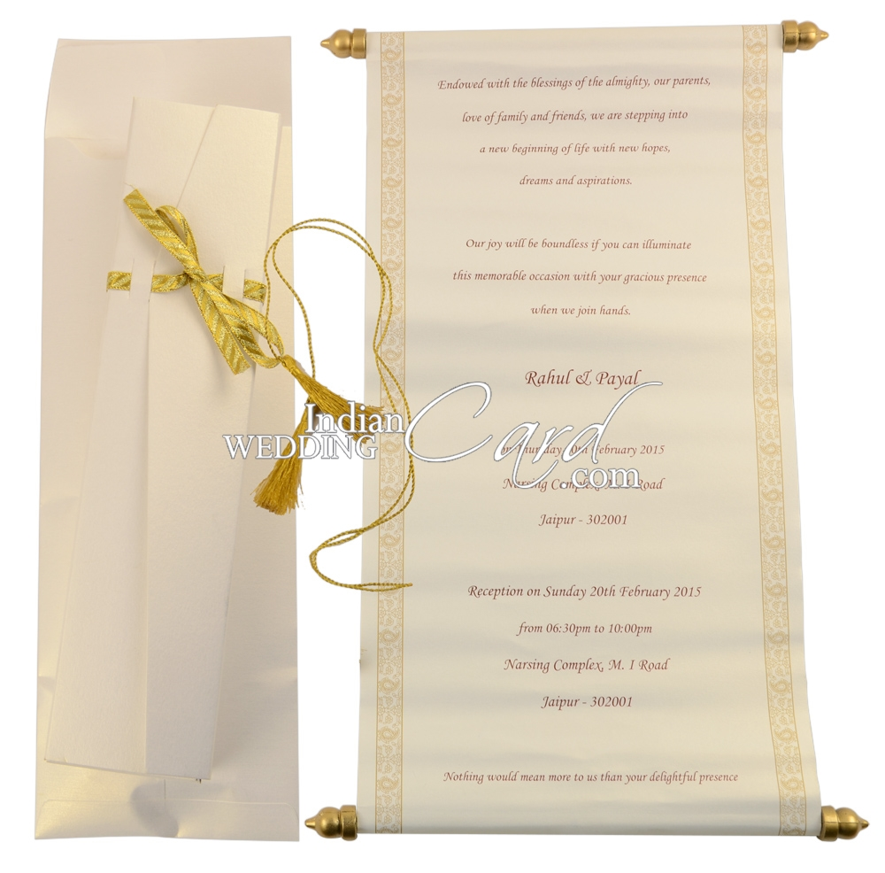 S1097, White Color, Shimmery Finish Paper, Scroll Invitations ...