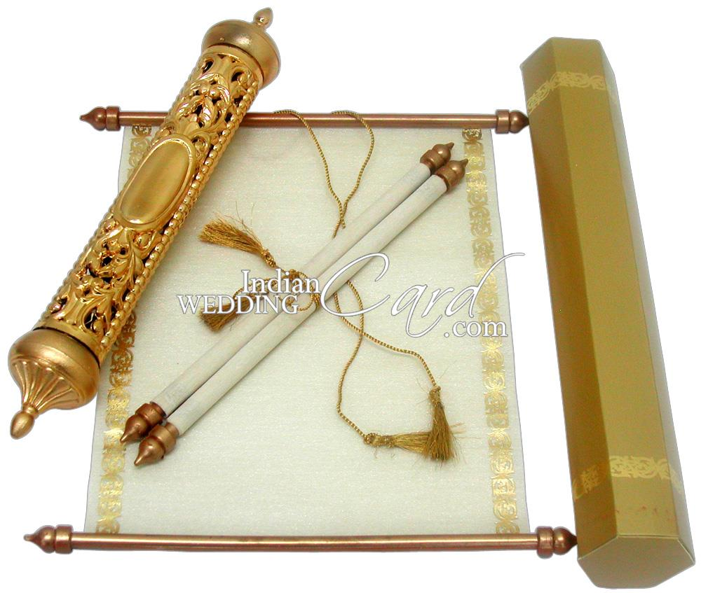 S301 Gold Color Scroll Invitations Jewish Invitations