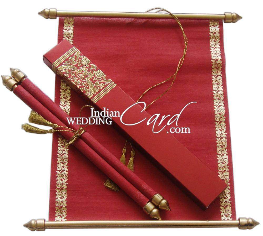 S862, Red Color, Shimmery Finish Paper, Scroll Invitations, Jewish ...