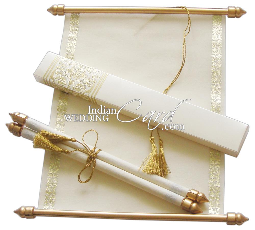 S864, Cream Color, Shimmery Finish Paper, Scroll Invitations, Jewish ...