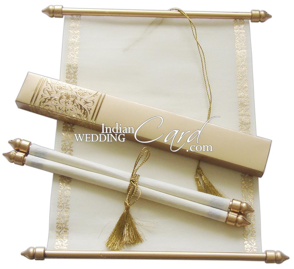 S865 Gold Color Shimmery Finish Paper Scroll Invitations Jewish