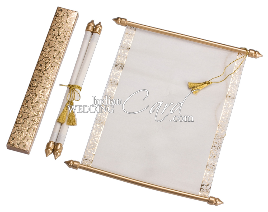 S884, Gold Color, Shimmery Finish Paper, Scroll Invitations ...