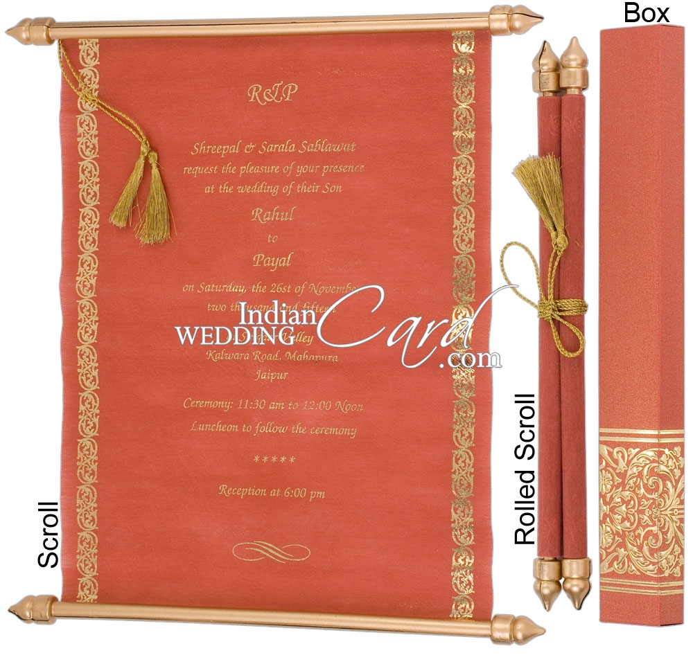 S911, Red Color, Shimmery Finish Paper, Scroll Invitations, Jewish ...