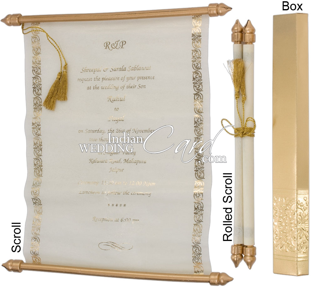 S923, Gold Color, Shimmery Finish Paper, Scroll Invitations, Jewish ...