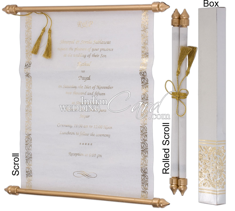 S936, Silver Color, Shimmery Finish Paper, Scroll Invitations ...