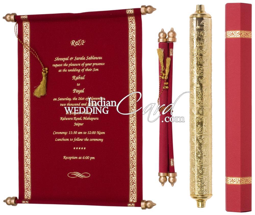 S954, Red Color, Scroll Invitations, Jewish Invitations, Box Scrolls ...