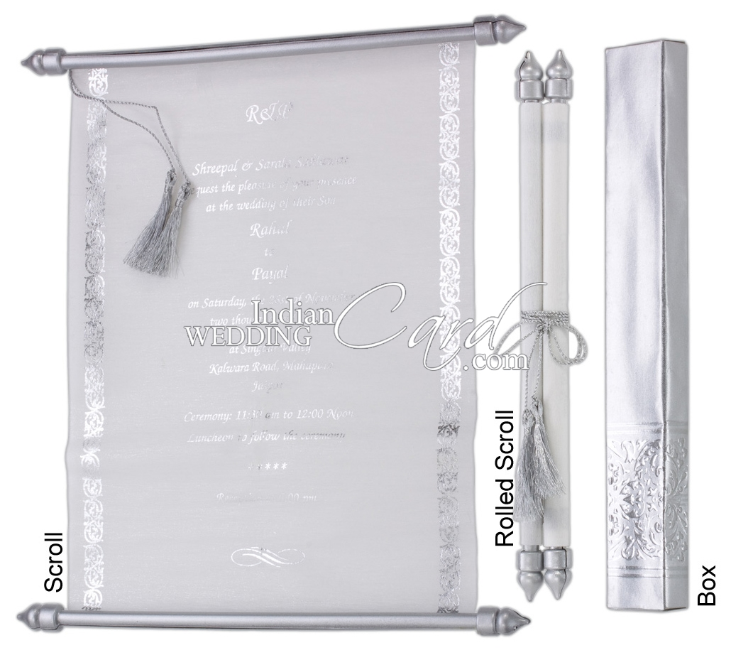 S974, Silver Color, Shimmery Finish Paper, Scroll Invitations ...