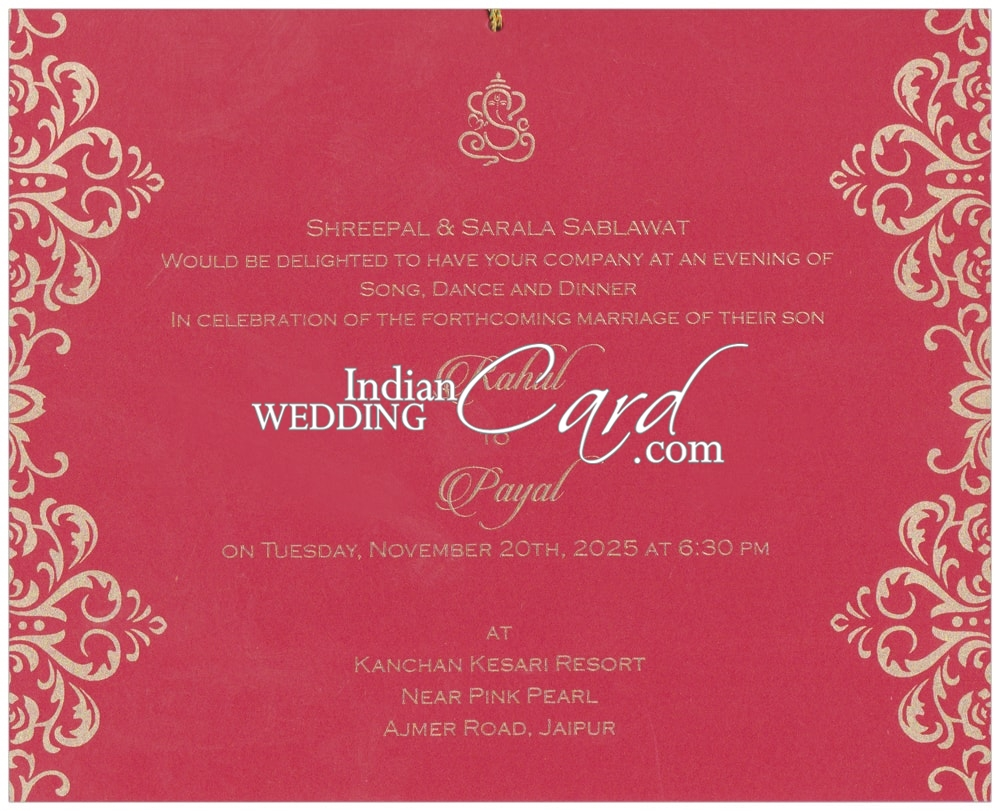 D-8586, Red Color, Laser Cut Cards, Designer Multifaith Invitations ...