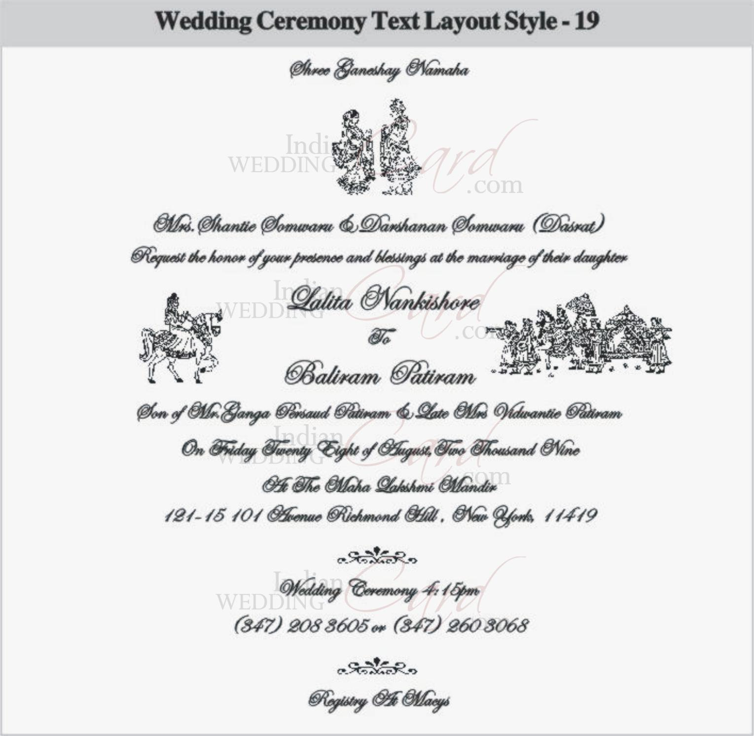 Indianweddingcard for Hindu wedding invitations messages