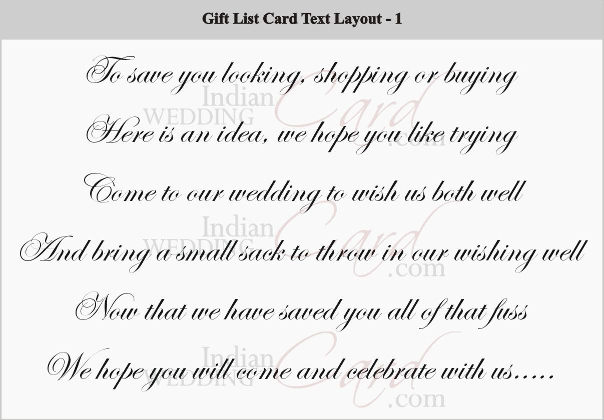 Gift List Card Layout